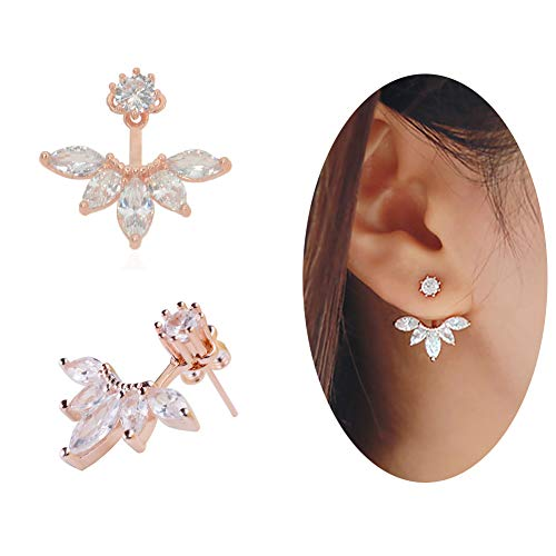 megko 925 Sterling Silver Cubic Zirconia Earrings Leaf Feather Ear Jacket Front Back Ear Cuffs Stud Earring (rose gold)