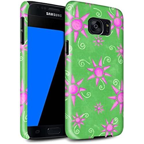STUFF4 Gloss Tough Shock Proof Phone Case for Samsung Galaxy S7/G930 / Green/Pink Design / Sun/Sunshine Pattern Sales
