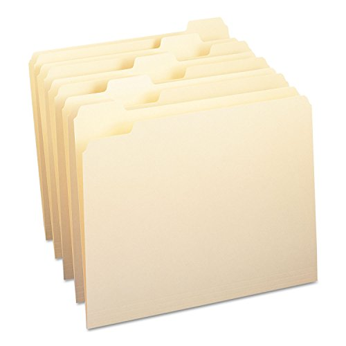 Smead 10350 File Folders 1/5 Cut One-Ply Top Tab Letter Manila 100/Box