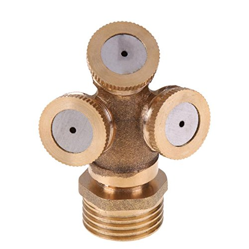 Spray Mist - Adjustable Mist Golden Nozzle Hole Thread Brass Spray Misting Garden Cooling 3 4 Sprinklers Fitting - Underarm Kids Face Tan Closures Oz Bottle Women System Plants