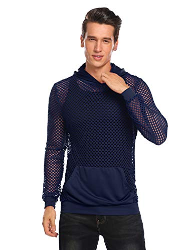 COOFANDY Mens Workout Tank Fishnet Muscle See Through T Shirt Sexy Mesh Transparent Tees Top (X-Large, Navy Blue)