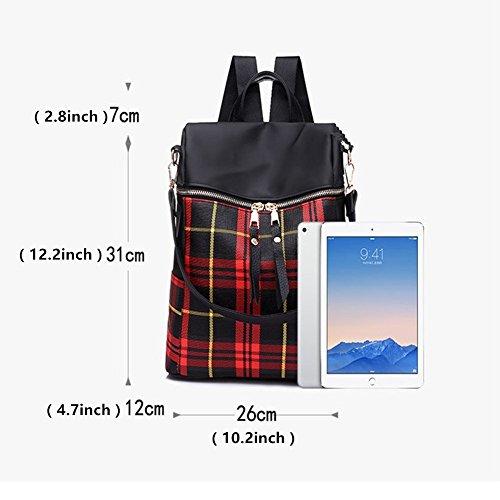 GOWOLD Streifen-Gitter-Rucksack weibliche 2018 Mode neue Nylon-Oxford-Mehrzweck-Doppel-Schulter diagonal Paket Studenten Tasche (Color : Rot) Gelb AKhA5yy2K