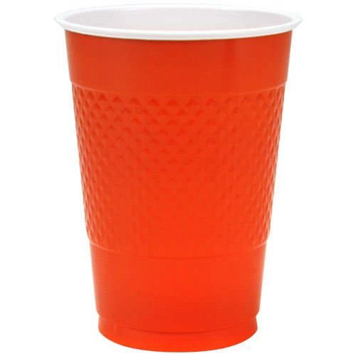 Hanna K. Signature Collection 50 Count Plastic Cup, 16-Ounce, Orange