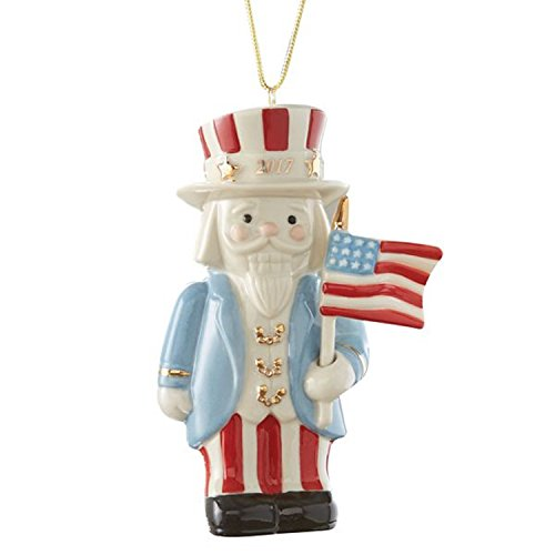 Lenox 2017 Annual Nutcracker Figurine Ornament Patriotic Uncle Sam American Flag Christmas ()
