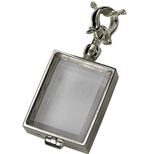 Memorial Gallery Pets 5002s Victorian Glass Rectangle Locket Sterling Silver Pet Jewelry by Memorial Gallery Pets