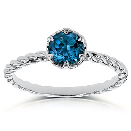 London Blue Topaz Twisted Solitaire Ring 1/2 CTW in 14k White Gold (Square Ring Blue Topaz Solitaire)