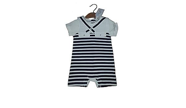 Pelele de bebé Niños Azul Marino y Blanco Marinero A Rayas 3 - 6 meses: Amazon.es: Bebé