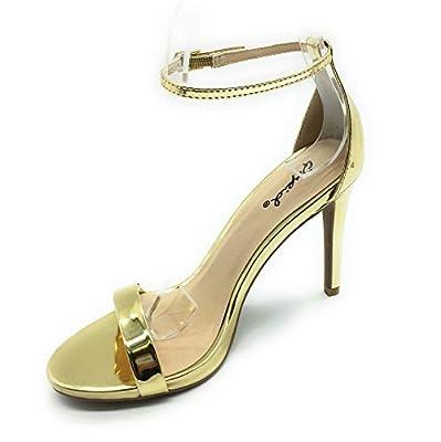 Qupid Women's Grammy-01 Dress Sandal (7 M US, Gold Pat)