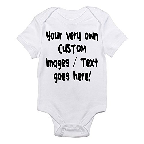 Custom Personalized Baby One-Piece Bodysuit Create Your Own Text or Image, White (0-3 Months - Baby Onesie Personalized Custom