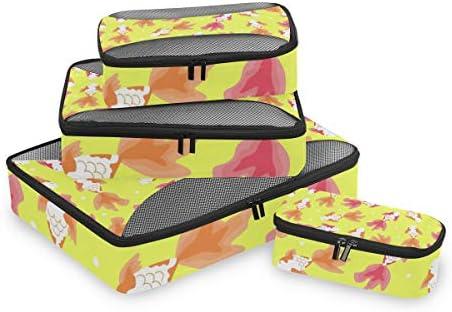 イエローゴールデンレッドフィッシュ荷物パッキングキューブオーガナイザートイレタリーランドリーストレージバッグポーチパックキューブ4さまざまなサイズセットトラベルキッズレディース