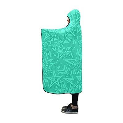 VNASKL Hooded Blanket Cyan Pentagon Star Pattern Aqua Blanket 60x50 Inch Comfotable Hooded Throw Wrap