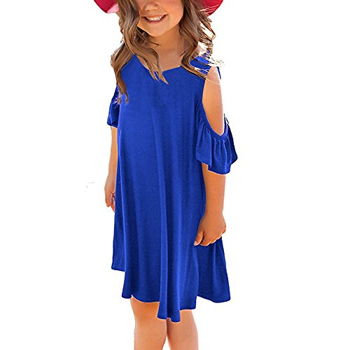 (Miss Bei Girls Dresses Short Sleeves Dress Summer Long Holiday Maxi Dress with Pocket Size 4-10T (Short Blue, 6-7Years/110cm))