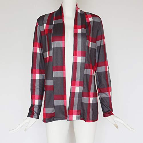 Moda A Quadri E Giacca Outerwear Donna Manica Bluse Primavera Tops Camicie Casual Quotidiani Lunga Cappotti Grigio Cime Autunno Cardigan wSn4OBx