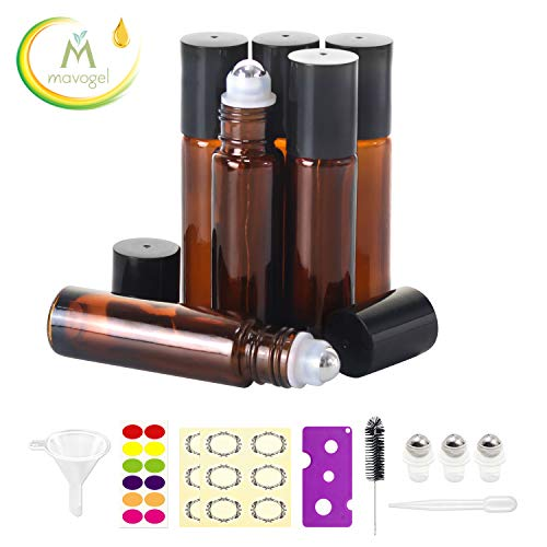 6,10ml Roller Bottles for Essential Oils - Amber, Glass with Stainless Steel Roller Balls by Mavogel (3 Extra Roller Balls, 24 Pieces Labels, Opener, Funnel, Dropper, Brush Included)