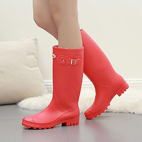 Alger PVC Spring Fashion Martin Rain boots, red, 36