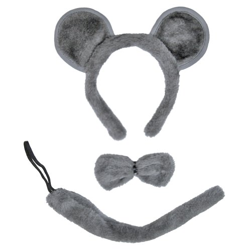SeasonsTrading Gray Mouse Ears, Tail, & Bow Tie Costume Set ~ Halloween Kit