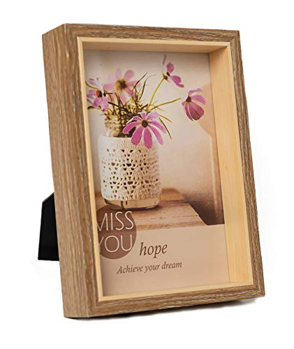 Classic Country Style Wooden Photo Frame|Desktop Wall Mounted|For Wall or Table|With Real Glass|Easel Stand Picture Frame|Family, Living,Bed Room,Office Display Decoration(Light Coffee) 4x6 Inch -