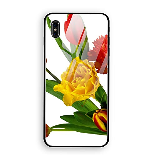 iPhone X Case, iPhone 10 Case, Tulips Carnations Ribbon Bouquet Bow Full Body Protection Hard Slim Tempered Glass Coated Case for Apple iPhone X (2017) ()