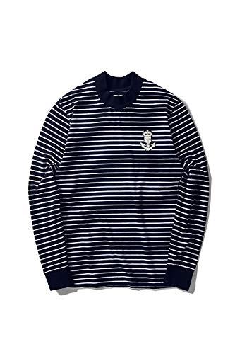 Multi Color Pullover - Zengjo Men's Casual Mock Turtleneck Long Sleeve Striped T-Shirt Cotton Spandex Slim Fit Pullover Stripe Tee (XXL, N&W Narrow)