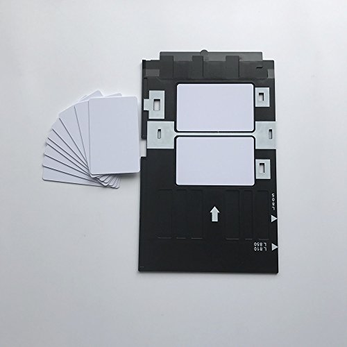 Inkjet PVC ID Card Starter Kit - Plain Printable Inkjet PVC ID Card + White Plastic Inkjet PVC ID Card Tray for Epson L800 L801 (10) by Inkjet PVC Card