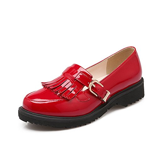 (WeiPoot Women's Patent Leather Solid Buckle Round Closed Toe Low Heels Pumps-Shoes, Red,)