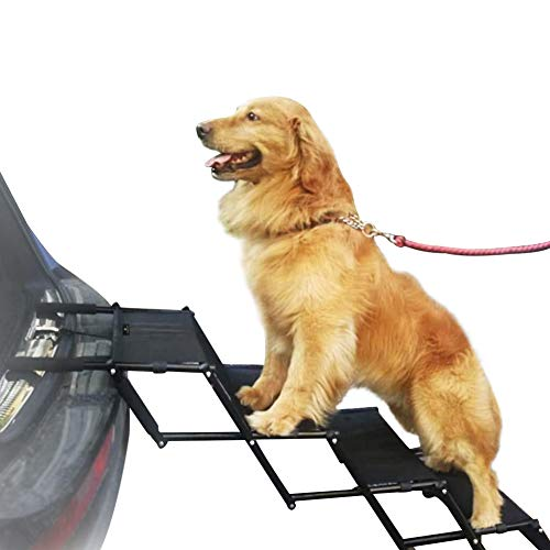 Flightbird Pet Ramp for Dogs, Car Step Stairs, Supports up to 100 lb,Height Adjustable Accordion Frame Foldable,Lightweight Easy-Fold Design,Portable Auto Large Dog Cat Great for Car Truck SUV Couch B