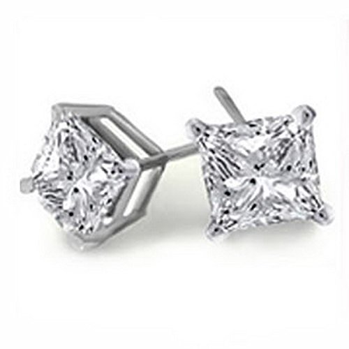 f99bd8e87 Finest New Real Princess Diamond Stud Earrings 9ct White Gold Hallmark SI2  0.3: Amazon.co.uk: Jewellery