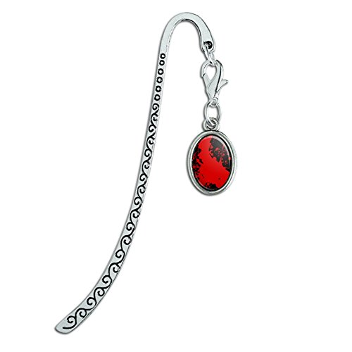Blood Splatter Classic Horror Movie Halloween Metal Bookmark Page Marker with Oval Charm ()