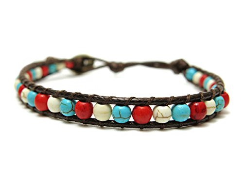 Women's Vibrant Gypsy Costumes (Blue Howlite Stone & Coral Beaded Leather-feel Cotton Cord Wrap Bracelet)
