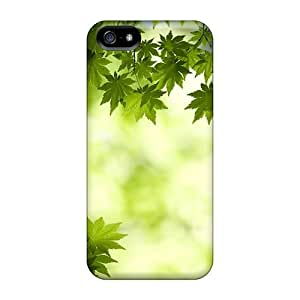 Premium [GtFhKGW1706sKAdB]green Maple Leaves Wallpaper Case For Iphone 5/5s- Eco-friendly Packaging