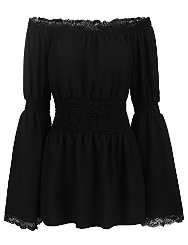 Bell Sleeve Off Shoulder Lace Trim Blouse Tops High Waist Smocked T-Shirt Black/M ()