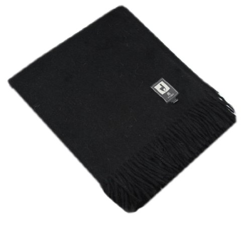 Superfine Natural Alpaca Yarn & Merino Wool Woven Blanket Fringed Throw (Black)