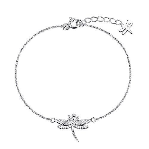 Sterling Silver Dragonfly Design 7+1 Inch Bracelet - New Arrival