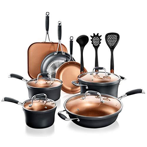 NutriChef Stackable Pots and Pans Set – 14-pcs Luxurious Stackable Cookware Set – Sauce Pans Nonstick Set with Lids…