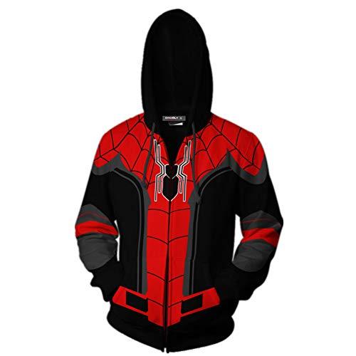 Gurbanton Spiderman Hoodie Costume Adult Men 3D Printed Zip Up Sweatshirt for Halloween Holiday Party (L) Red-Black ()