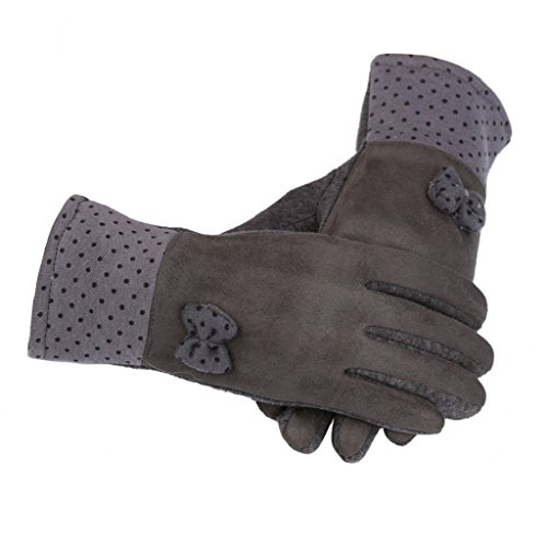 [LUNIWEI Women Winter Warm Velvet Polka Dot Bow Gloves] (Pixel Gloves)