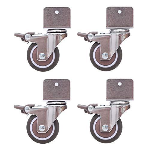 GINVF Ruedas giratorias silenciosas de 4de 2 para cunas, con Soporte Tipo U, Rueda de Goma para Muebles de 50 mm con Frenos, rodamientos de Bolas, Capacidad 80 kg, con Tornillos (16-25 mm)