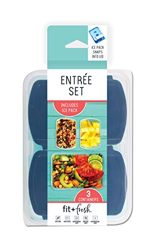Fit & Fresh Entree Set with Ice Pack, 3 Reusable Portion Control Containers, BPA-Free, Microwave/Dishwasher Safe Lunch…