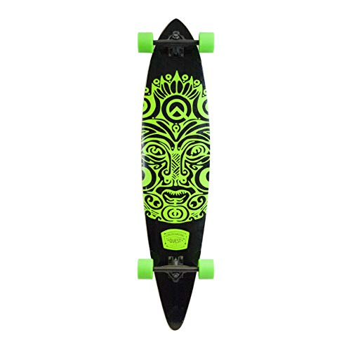 (Quest Buena Karma Pintail Longboard Skateboard, Bright Jade Green, 44