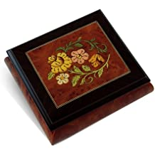 Radiant Floral Glossy Wood Inlay Box with Rosewood Border, Classy & Beautiful - You've Gotta Be A Football Hero