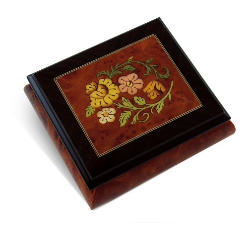 MusicBoxAttic Radiant Floral Glossy Wood Inlay Box with Rosewood Border, Classy & Beautiful - Over 400 Song Choices - Piano Sonata in A Major (Mozart)