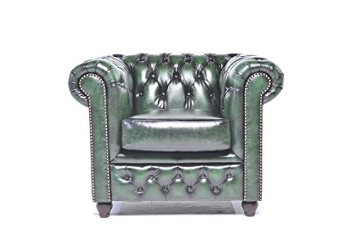 Original Chesterfield Chair - 1 Seater - Full Real Hand Washed Leather - Antique Green