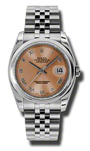 Rolex Oyster Perpetual Datejust 36mm Stainless Steel Case, Domed Bezel, Pink Dial, Roman Numeral And Jubilee Bracelet