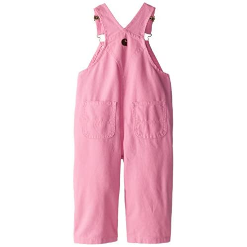 4 Pink Carhartt Little Girls Washed Miscrosanded Canvas Bib Overall