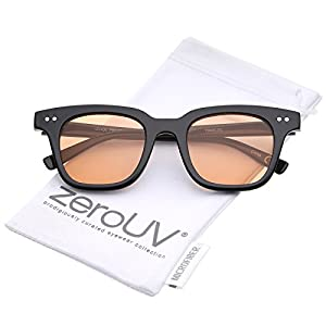 zeroUV - Retro Chunky Frame Color Tinted Square Flat Lens Horn Rimmed Sunglasses 47mm (Black / Orange)