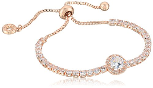 (Anne Klein Classics Rose Gold Pave Center Stone Slider Bracelet, One Size )