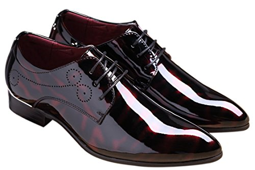 (SANTIMON Black Dress Shoes for Men Pointed Toe Floral Patent Leather Lace Up Oxford Red 9.5 D(M) US)