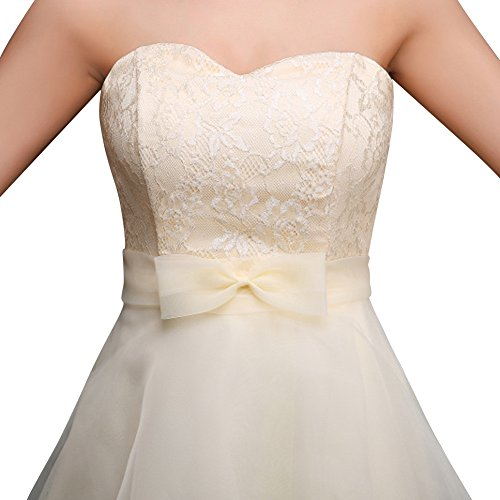 Champagne Dasior Lace with up Sweetheart Women's Organza Bridesmaid Dress High Bow Low qqRPxr6