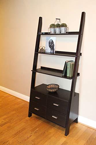 4D Concepts Leaning Ladder Bookshelf, Walnut