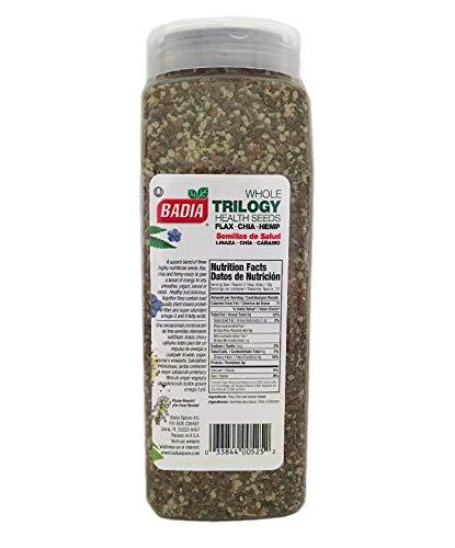 2 PACK Trilogy Seeds Whole Flax, Chia & Hemp Health Seed/Linaza, Cañamo 2x21 oz